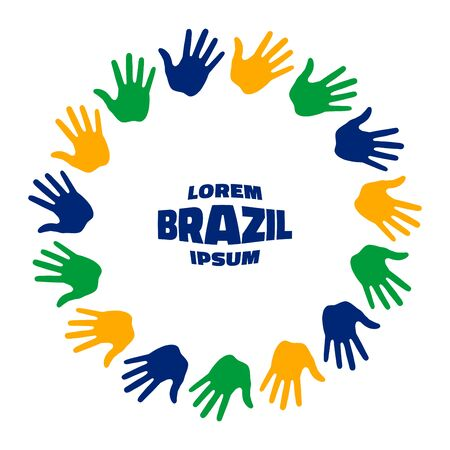 Colorful fifteen hand print using Brazil flag colors.