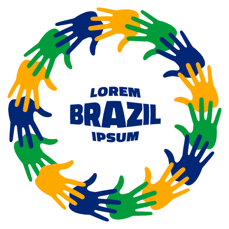 fifteen: Colorful fifteen hand print using Brazil flag colors