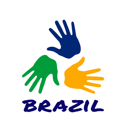 Colorful three hand print icon using Brazil flag colors