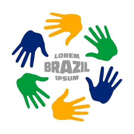 Colorful six hand print icon using Brazil flag colors. Vector illustration
