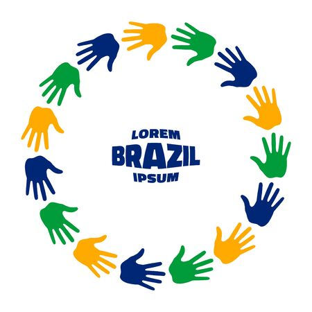 fifteen: Colorful fifteen hand print icon using Brazil flag colors. Vector illustration. Illustration