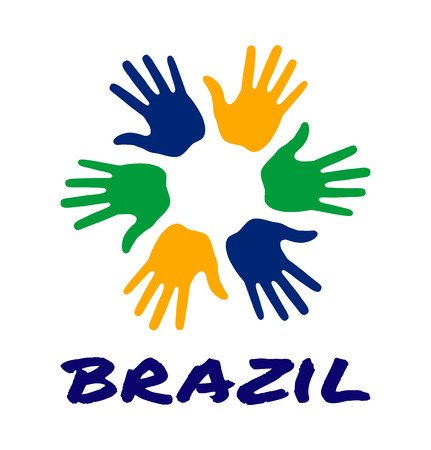 Colorful six hand print icon using Brazil flag colors. Vector illustration Vetores