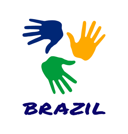 colorful three hand print icon using Brazil flag colors. Vector illustration Vetores