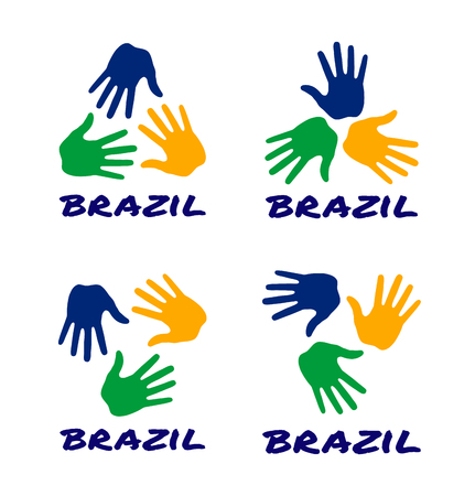 Set of colorful hand print icons using Brazil flag colors. Vector illustration. Vetores
