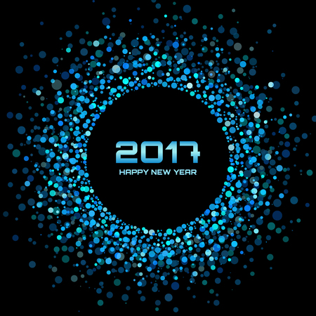 bright: Blue Bright New Year 2017 on black Background.  Glowing confetti circle new year frame. Blue shining circle background. Vector illustration
