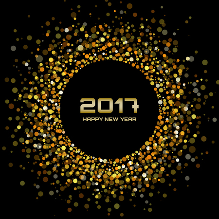 gold circle: Gold Bright New Year 2017 on black Background.  Glowing confetti circle new year frame. Golden shining circle background. Vector illustration