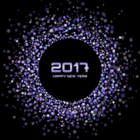 blue light background: Violet Bright New Year 2017 on black Background.  Glowing confetti circle new year frame. Violet shining circle background. Vector illustration