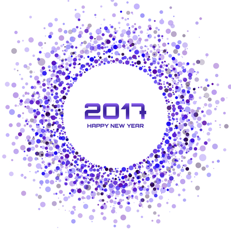transparent background: Violet Circle New Year 2017 border on white Background. Transparent confetti circles new year frame. Violet light circle background. Vector illustration Illustration