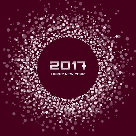 dark brown background: White Bright New Year 2017 circle border design on dark brown Background.