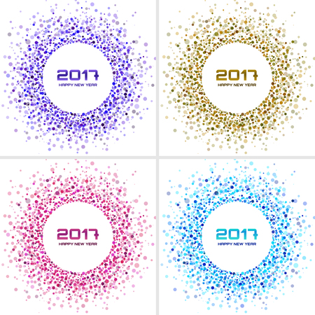 Set Of Bright New Year 2017 Circle Frames On White Backgrounds ...