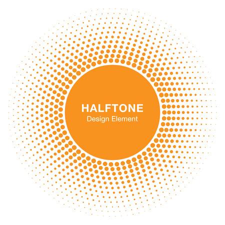 printing logo: Sunny Circle Halftone Logo Design Element. Sun vector icon. Sun halftone emblem for health, treatment, medical, cosmetic, pharm. Honey sun logo vector illustration