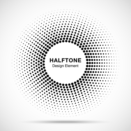 Black Abstract Circle Frame Halftone Dots Logo Design Element for medical treatment, cosmetic. Circle Border Icon halftone round dot vector elements. Halftone circle emblem, vector illustration. Illustration