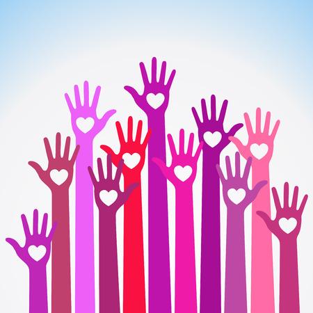 violet red: Bright  red violet colorful caring up hands hearts vector logo. Volunteers heart hands up vector emblem. Vector hands icon illustration. Education, Health Care, Medical, Volunteer, Vote Design Element