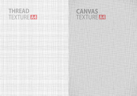 gray: Set of light gray white line fabric thread canvas burlap texture in A4 paper size backgrounds, thread gray pattern backdrop vertical paper format. Stock Photo