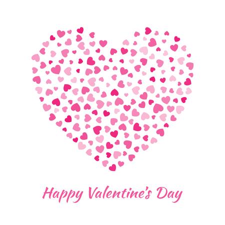 Vector Hart met kleine roze hartjes Valentijnsdag kaart Achtergrond.