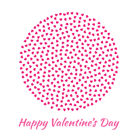 mariage: Abstract Vector Elegant Circle Sphere Round with small pink Hearts for Valentines Day card Background Design. Wedding Invitation Card. Logo emblem for health care, medical, treatment.