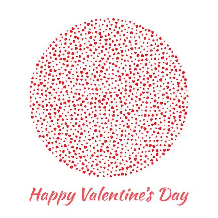 mariage: Abstract Vector Elegant Circle Sphere Round with small red Hearts for Valentines Day card Background Design. Wedding Invitation Card. Logo emblem for health care, medical, treatment.
