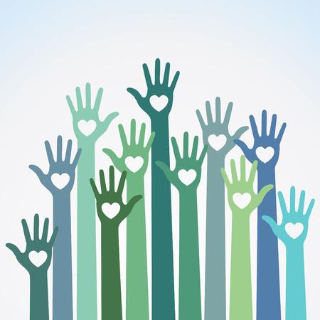 Verde azul colorido cuidar de las manos corazones elemento de diseño de logotipo de vector. Voluntarios manos arriba con icono de emblema de corazón para la educación, atención médica, médico, voluntario, el voto.