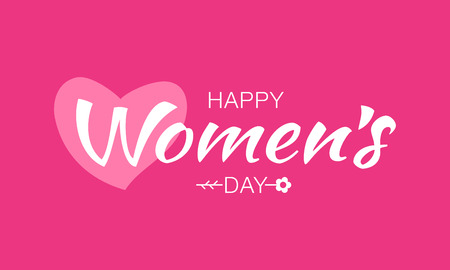 lady in red: White happy Womens Day typographic lettering on pink red background with heart and flower.