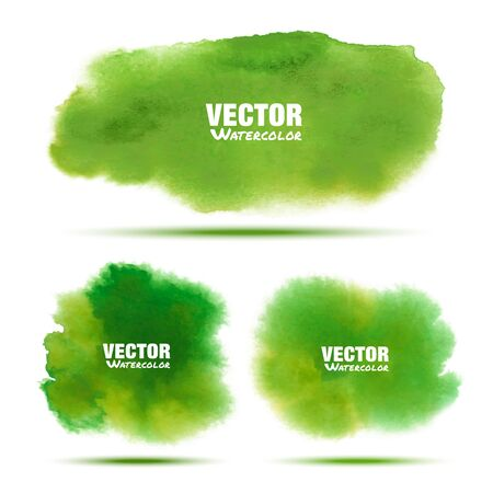 watercolor texture: Set of bright green - yellow spring watercolor vector grunge stains isolated on white background with realistic paper texture. Aquarelle green spot. Illustration