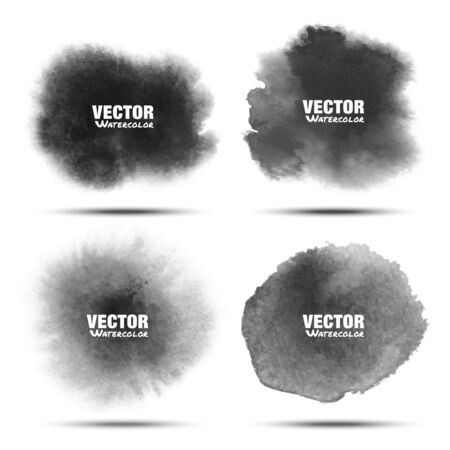 Set of Dark gray black watercolor vector circle stains isolated on white background with realistic paper texture. Aquarelle grey vibrant spots.