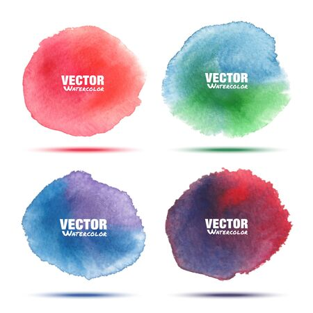 violet red: Set of bright red green blue violet watercolor vector circle stains isolated on white background with realistic texture. Aquarelle vibrant spots. Illustration