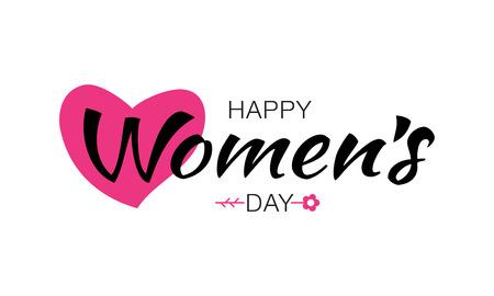 Glückliche Womens Day typographischen Schriftzug auf weißem Hintergrund mit rosa Herz Blume isoliert. Vector Illustration einer Tageskarte der Frauen.