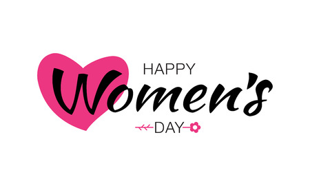 Happy Womens Day typographic lettering isolated on white background with pink heart flower. Vector Illustration of a Women's Day card.