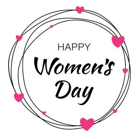 Happy Womens Day hand drawn typographic lettering with scribble circle isolated on white background with pink hearts flower. Vector Illustration of a Womens Day card.