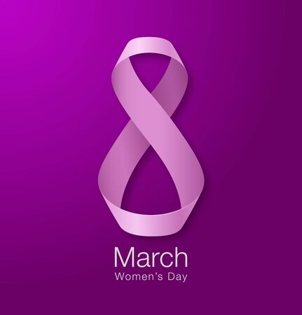 womans day: March 8 - Womens Day Paper Design of greeting card template. International Womens day Realistic symbol of pink ribbon on dark purple violet background. Vector illustration.