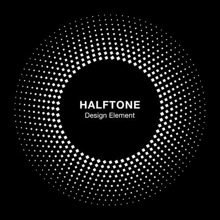 Circle Frame Halftone Dots Square Logo Icon Design Element for medical treatment, cosmetic on black background. Halftone circle emblem.