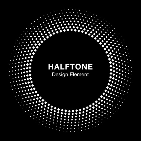 Halftone circle emblem. White Abstract Vector Circle Frame Halftone Dots Square Logo Icon Design Element for medical treatment, cosmetic on black background.