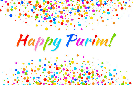 esther: Vector Bright Horizontal Card Happy Purim carnival text with colorful rainbow colors paper confetti frame isolated on white background. Birthday template. Purim Jewish holiday.