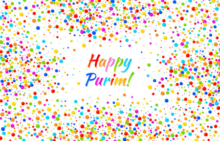 esther: Vector Bright Horizontal Card Happy Purim carnival text with colorful rainbow colors paper confetti frame. Birthday template. Purim Jewish holiday.