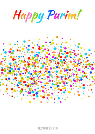 Vector Happy Purim carnival text with colorful rainbow colors paper confetti cloud strip isolated on white background. Colorful confetti band. Purim Jewish holiday. Birthday template. Poster or flyer. Illustration