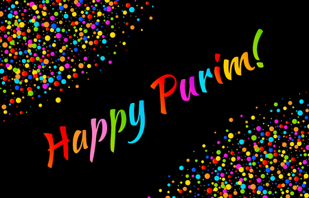 esther: Vector Bright Horizontal Card Happy Purim carnival text with colorful shiny rainbow colors paper confetti frame isolated on black background. Birthday template. Purim Jewish holiday.