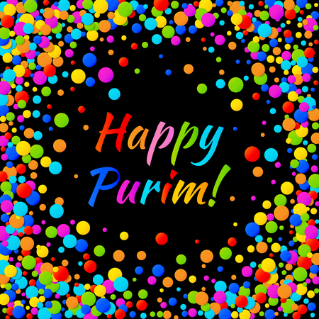 esther: Vector Happy Purim carnival text with colorful rainbow colors paper shiny confetti frame isolated on black background. Birthday template. Purim Jewish holiday.
