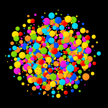 colourful: Vector colorful bright rainbow colors circle confetti round papers.