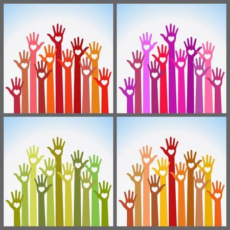 human finger: Set of bright colors colorful caring up hands hearts vector logo design element.