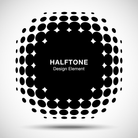 camber: Convex distorted black abstract vector circle frame halftone dots logo emblem design element for new technology pattern background.