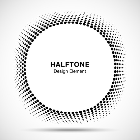 Convex distorted black abstract vector circle frame halftone dots logo emblem design element for new technology pattern background.