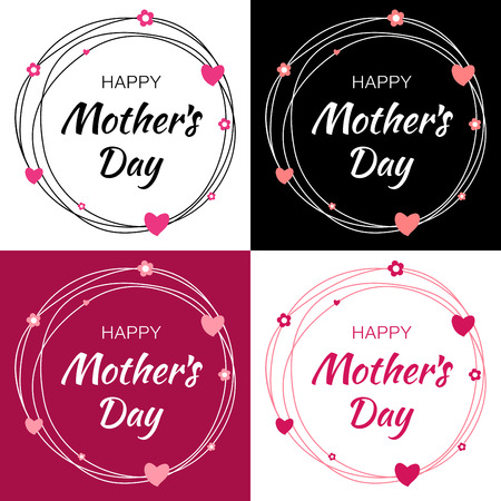 arrière plan noir et blanc: Happy Mothers Day Vector Lettering Set with heart shape and flowers. Mothers Day Card with scribble circle frame.