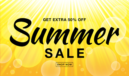Summer sale template vector banner with sun rays. Glow horizontal sunlight yellow background. Sunshine glare heat with flash rays and bubbles backdrop. Campaign sale 50 procents off.