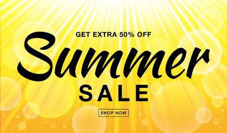 Zomer verkoop sjabloon vector banner met zonnestralen. Gloed horizontaal zonlicht gele achtergrond. De zonneschijn glanst hitte met flitsstralen en bellenachtergrond. Campagneverkoop 50 gaat uit. Stock Illustratie