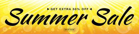 half price: Summer sale template vector banner with sun rays. Glow horizontal sunlight yellow background. Sunshine glare heat with flash rays and bubbles backdrop. Campaign sale 50 procents off. Illustration