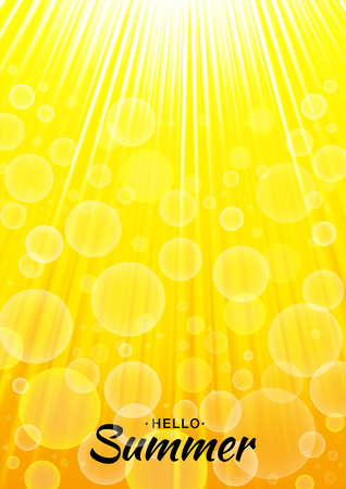 Summer template vector yellow glow background with sun rays and bubbles. Vertical sunlight orange A4 paper size backdrop. Lettering Hello Summer