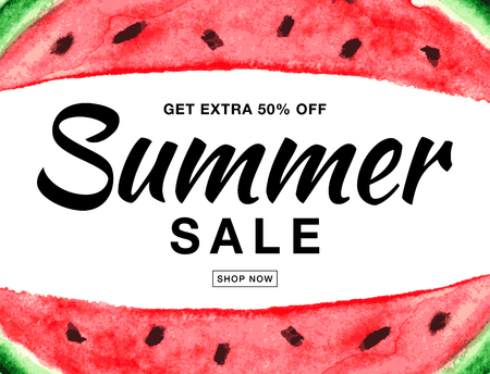 Summer sale template vector banner with watercolor watermelon isolated on white background.Bright red watermelon with realistic paper watercolor texture. Campaign sale 50 percent off.