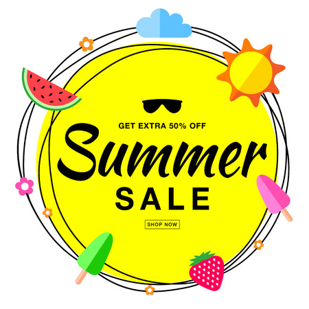 50 off: Vector summer sale template banner, hand drawn typographic lettering with scribble circle isolated on white background with flat sun, watermelon, ice cream, strawberry vector summer design elements. Illustration