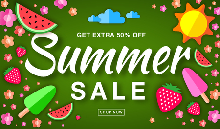 50 off: Summer sale template horizontal flat banner, hand drawn typographic lettering on bright green background with flat paper sun, watermelon, ice cream, strawberry, flower, vector summer design elements. Illustration