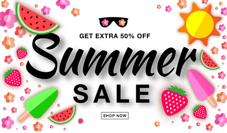 Summer sale template horizontal flat banner, hand drawn typographic lettering on white background with flat paper sun, watermelon, ice cream, strawberry, flower, vector summer design elements. Illustration